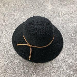 ✨Black Hat With Wide Brim & Camel Brown Bow